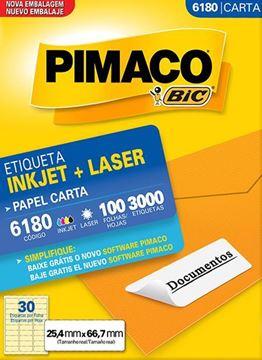 Imagem de ETIQUETA INKJET/LASER 100F 3000UN 6180(30)25,4X66,7 PIMACO