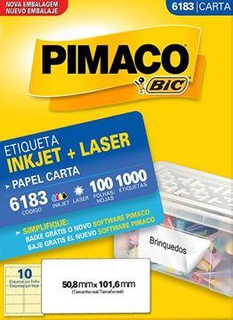 Imagem de ETIQUETA INKJET/LASER 100F 1000UN 6183(10)50,8X101,6 PIMACO