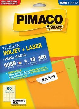 Imagem de ETIQUETA INKJET/LASER 10F 600UN 6089(60)16,93X44,45 PIMACO