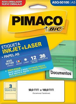 Imagem de ETIQUETA INKJET/LASER 12F 36UN A5Q-50100 (3) 50X100 PIMACO