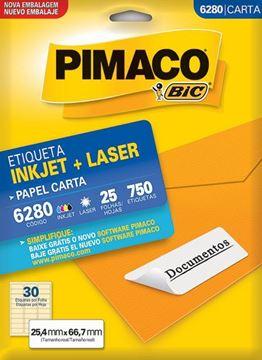 Imagem de ETIQUETA INKJET/LASER 25F 750UN 6280 (30)25,4X66,7 PIMACO