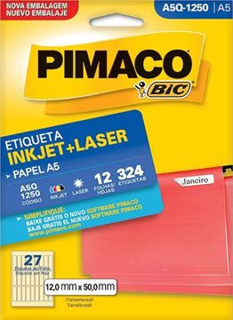 Imagem de ETIQUETA INKJET/LASER 12F 324UN A5Q-1250 (27) 12X50 PIMACO