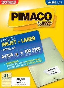 Imagem de ETIQUETA INKJET/LASER 100F 2700UN A4 355(27)31X63,5 PIMACO