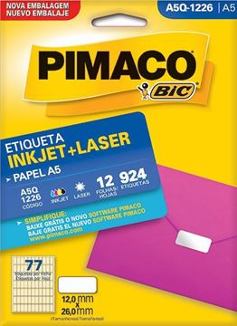 Imagem de ETIQUETA INKJET/LASER 12F 924UN A5Q-1226 (77) 12X26 PIMACO