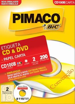 Imagem de ETIQUETA INKJET/LASER 100F 200UN CD100B(2) 15MM PIMACO